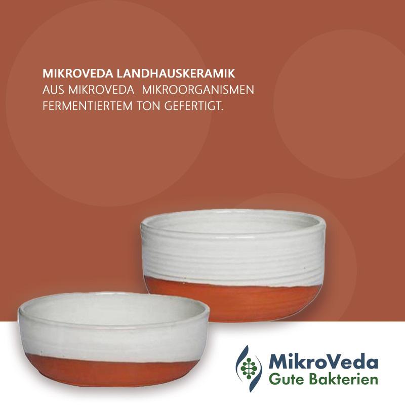 Futternapf mittel (H: 7 cm, Ø 17 cm) Mikroorganismen-Keramik Haushaltsgeschirr im Landhausstil aus deutscher Manufaktur
