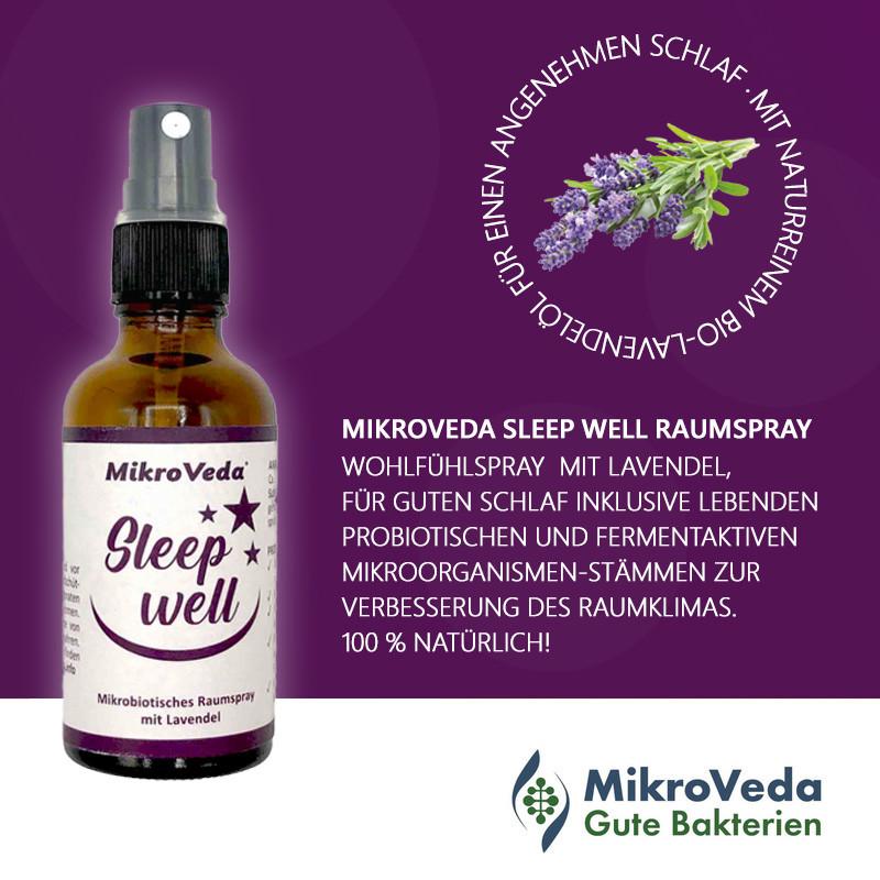 MikroVeda SLEEP WELL mikrobiotisches Raumspray Lavendel-Duft 50 ml Glassprühflasche